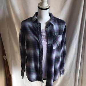 Girls flannel button down with tank top